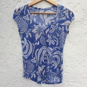 MADEWELL Size Medium Blue V-neck Floral Tee